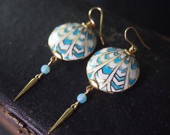 Art Deco Earrings Statement Earrings Geometric Earrings Dangle Earrings Enamel Chevron Earrings Flapper Cloisonne Miss Fisher Turquoise E074