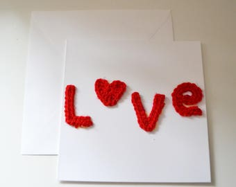 Crochet LOVE Card/Valentines Day/Anniversary