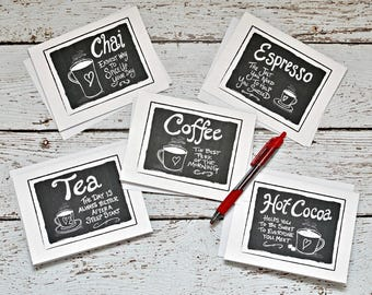 Printable Note Cards for Coffee and Tea Lovers, Set of 5 Digital Cards, Hand Drawn, Instant Download PDF, Black and White Greeting Cards