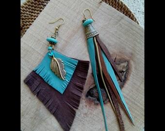 Leather earrings, asymmetrical earrings, mint&brown earrings, native earrings, hippie earrings, boho earrings, mismatched earrings, ethnic