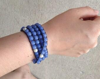 Periwinkle beaded wrap bracelet