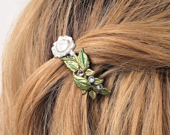 Rose Hair Barrette, with Swarovski crystals