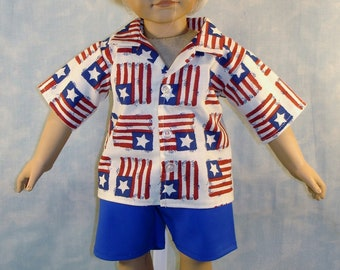 18 Inch Doll Clothes 4th of July Flag Shirt Shorts Set for Boys handmade by Jane Ellen to fit 18 inch boy dolls