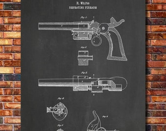 Smith & Wesson Model 1 Revolver Patent Print Art 1855