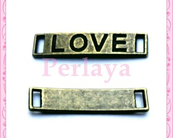 Set of 15 bronze tag charms LOVE REF1946X3 28mm