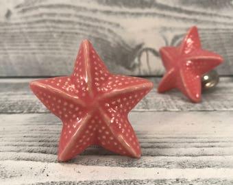 Starfish Ceramic Knobs, Star Fish Sea Animal Home Decorative Knob Dresser Drawer Pulls, Seaside Beach Cabinet Supply, Item #530778823