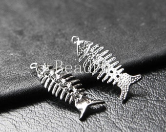 6pcs / Fish Bone / 2mm Rhinestone / Charm / White Gold Tone / Base Metal  (ZA2411//J14)