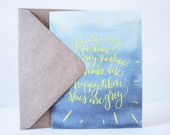 Clivey Boy Card - You are my sunshine - Hand lettered Art Card - Blue & Yellow - Watercolor - Baby shower - Anniversary - Encouragement