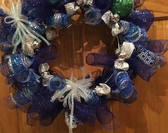 Blue Deco Poly Mesh Christmas Wreath, Winter Wreath, Hanukkah Wreath