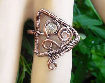 Mystical ring, wire ring, mystical jewelry, wire wrapped ring size 8.5, wire wrapped jewelry, bohemian rings, bohemian jewelry, boho rings