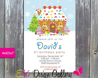 Gingerbread House Invitation, Gingerbread Decorating Party, Birthday Party Invite, Printable invitation, Personalized Digital Invitation