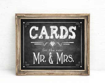 Chalkboard Wedding Sign | PRINTED Cards for the new Mr & Mrs, Cards Wedding sign, Rustic Chalkboard wedding Cards Box Sign, Gifts Table Sign