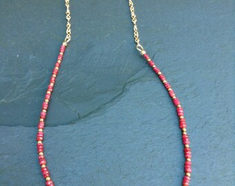 Ruby and gold filled necklace