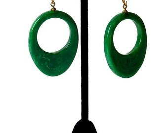 Vintage Green Bakelite Drop Earrings