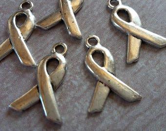 Charms small ribbons bows symbol, silver metal - 14 x 9.5 mm