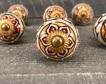 Decorative Tomato Knobs, Ceramic Knob Hand Painted Drawer Pull, Cabinet Knobs, Craft Supply Knob,  Item #572924321
