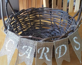 """Mini lace and burlap banner. """"Cards"""""""