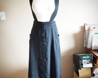 Black Button Up Skirt Jemper with Suspenders
