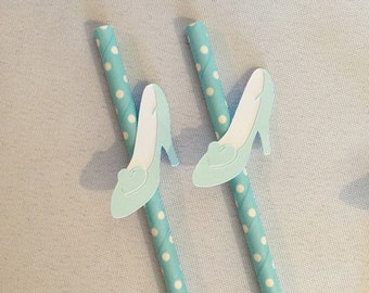 Cinderella Party Decorations - Glass Slipper Straws - Cinderella Straws - Cinderella Party Decor - Cinderella Paper Straws - Handmade