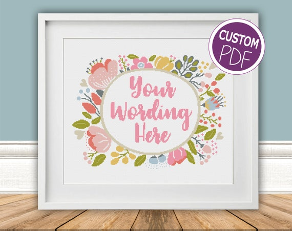 Custom Modern Floral Cross Stitch