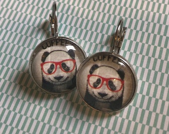 Panda with glasses glass cabochon earrings - 16mm