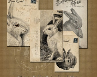 Vintage Rabbit Postcards and Tags Instant Digital Download