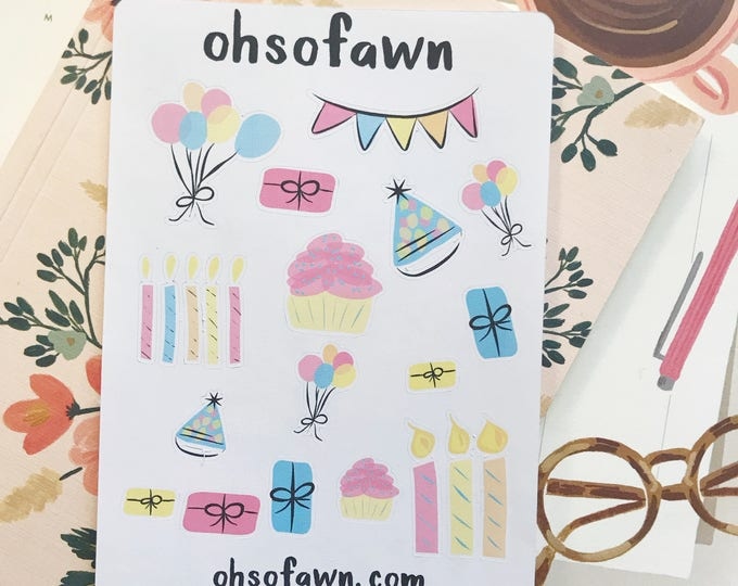 Watercolor Birthday Planner Stickers