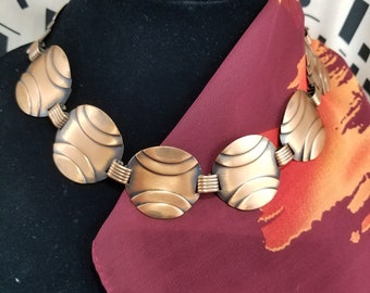 Lovely Copper Circular Panel Choker Style Necklace