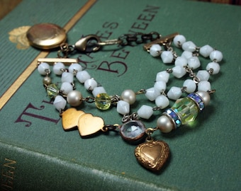 Vintage Rosary Bracelet Upcycled Assemblage Jewelry Gold Filled Locket