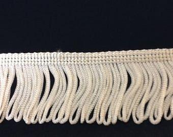 Ecru beige polyester fringe - 5 cm