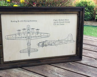 Airplane Art Aviation Sign Military Transport Wooden Blueprint Helicopter Gift