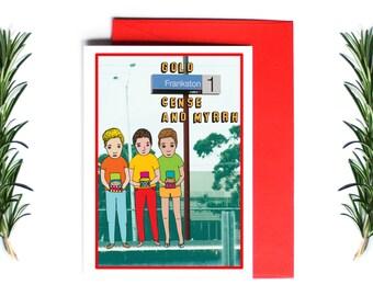 Melbourne Christmas Card - Gold Frankston Cense and Myrrh | Greeting Card | Holiday Card | Melbourne Christmas Card