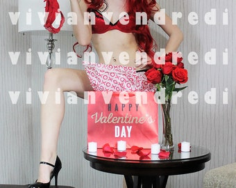 Red Rose Lingerie Boudoir 5 Collectible Art Print