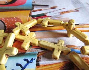 Yellow Magnesite Cross, Gemstone Rosary Cross, Religious Howlite Pendant, Stone Cross Charm, 1 Str