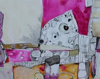 "New collection Zen Abstract  orginal 12 x 12 cradled board  ""Balancing Act""   magenta and grayby Jodi Ohl"