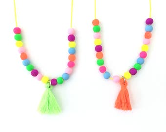 girl necklace - kids necklace - kids jewelry - girl gift - teen gift - tassel necklace - neon jewelry - beaded necklace - trendy jewelry