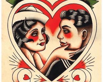 Vintage Sailor & Lover,'Til Death, Tattoo Flash Print