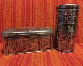Chivas Regal tin containers for Scottish whiskey