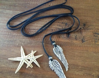 Leather Wrap Necklace Silver Angel Wings Black Choker Lariat Tie Boho Biker Pink Brown Green Blue Tan Leather Jewelry Friendship Religious