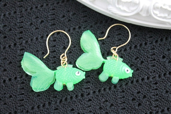 Dangling goldfish  earrings cute kawaii kitsch lolita green fish