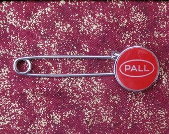 Pall Advertising Pin Large Safety Pin Kilt Pin or Blanket Pin Style with Red Enamel End