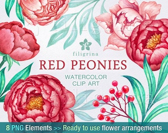Red Peonies arrangements WATERCOLOR Clip Art. Elegant wedding bouquet, green leaves, floral garland wreath. 8 PNG elements. Read about usage