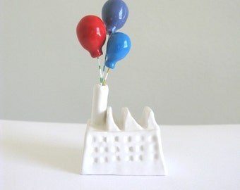 Balloon Factory - (red blue purple) - miniature ceramic sculpture