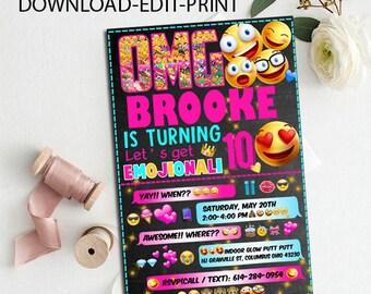 Emoji Birthday Invitations, Emoji Party Invitation, Emoji Birthday Invitation, Emoji Birthday Party, Emoji Party, Emoji editable pdf invite