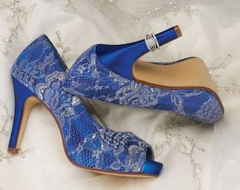 Lace Wedding Shoes - Custom Colors 120 Choices - Vintage Wedding Lace Peep Toe Heels, Women's Bridal Shoes PBD- Heel 3.25