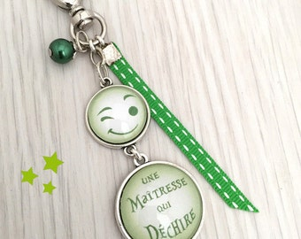 porte-clés bijou de sac a message  une maîtresses qui déchire vert .REF.33
