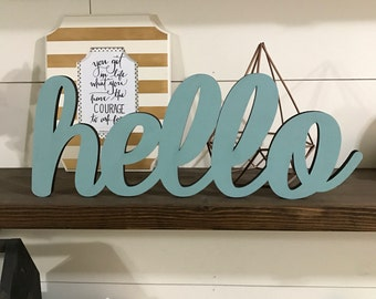 Hello Wood Word Cutout, Scroll Cut Word, Hello Sign, On the Shelf Word