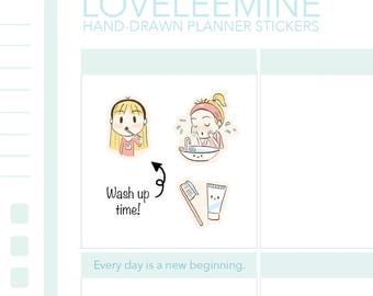 Daisy Washing face, Brushing teeth, Toothbrush, Toothpaste Planner Stickers