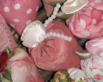 Classic Elegance Set 12 Miniature Thumbellina Strawberry Lavender Sachets Moire Taffeta