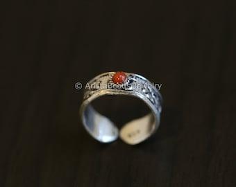 Coral Toe Ring, 925 Toe Ring, Coral Toe Ring,, Silver Toe ring, 925 Silver Toe ring; Knuckle Ring